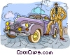 gangster with vintage automobile, car Vector Clipart picture