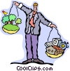 balancing technology and the environment Vector Clip Art graphic