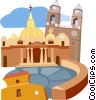 Vector Clip Art picture  of a stylized landmarks in Rome