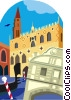 Vector Clip Art graphic  of a symbolic of Venice Italy