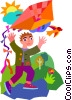 Vector Clipart graphic  of a boy flying kite