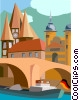 generic European river scene with bridge Vector Clipart picture