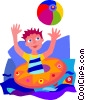 Vector Clip Art image  of a boy playing in lake