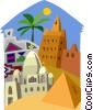 Vector Clipart illustration  of a North African architecture