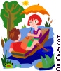 couple in row boat Vector Clip Art picture