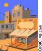 Vector Clip Art graphic  of a old western town