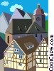 generic German architecture, Europe Vector Clipart graphic