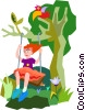 Vector Clipart graphic  of a girl on swing