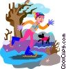 Vector Clipart picture  of a skating on pond