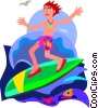 boy, surfing Vector Clipart illustration