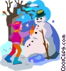 Vector Clipart illustration  of a making a snowman