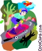 Vector Clip Art picture  of a Skateboarding