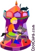 Vector Clip Art graphic  of a merry-go-round