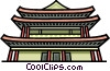Vector Clipart illustration  of an Asian building