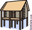 house on stilts, flood Vector Clipart image