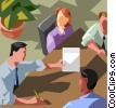 Boardroom meeting, office workers Vector Clipart graphic