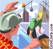 construction workers, construction site Vector Clipart image