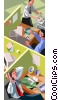 office workers at their desks Vector Clipart image