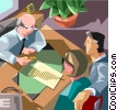 lawyer's office, signing legal documents Vector Clip Art graphic