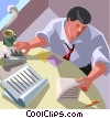 accounting, adding machine, office Vector Clipart illustration