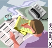 business correspondence, office work Vector Clip Art picture