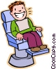 in dentist chair, getting check-up Vector Clipart picture