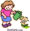 Vector Clip Art image  of a girl watering flower