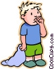 Vector Clip Art graphic  of a boy with security blanket