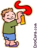 Vector Clipart graphic  of a boy with spray can