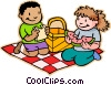 boy and girl having a picnic Vector Clipart picture