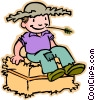 children at play, kids, farmer Vector Clipart picture