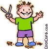 Vector Clip Art image  of a Boy with scissors