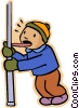 boy licking frozen pole, learning the hard way Vector Clipart illustration