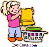 girl doing laundry Vector Clip Art picture