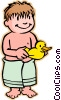children at play, kids, with rubber duck Vector Clipart illustration