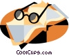 Vector Clipart graphic  of a reading glasses with book