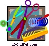 Vector Clip Art image  of a beautician tools