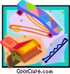 hair barrettes and bobby pin Vector Clip Art picture
