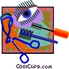 Vector Clip Art image  of a female eye lash tools
