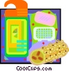 la sponge with soap and body gel Vector Clipart graphic
