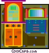 Vector Clip Art image  of a cupboard and dresser in