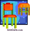 chair and stool in decorative frame Vector Clipart illustration