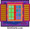 window with shutters in decorative frame Vector Clipart illustration