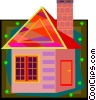 cabin with stone chimney, house Vector Clipart graphic