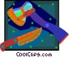 Vector Clip Art graphic  of a hatchet and hunting knife