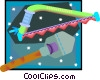 Vector Clipart image  of a bow saw and spade