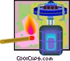 Vector Clip Art graphic  of a camping burner with match