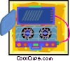 Vector Clip Art image  of a two burner camp stove