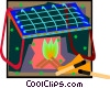 Vector Clipart illustration  of a open fire cooking grill