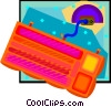 Vector Clipart graphic  of an air mattress with pump